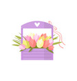 beautiful pink spring flowers tulip bouquet in vector image vector image