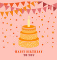 birthday card with cake and flags vector image vector image