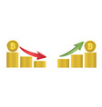 bitcoin coins with green and red arrows vector image vector image