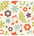 Bright seamless pattern of stars notes and leaves vector image vector image