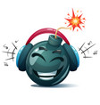 cartoon bomb fuse wick spark icon music smiley vector image
