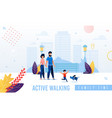 cartoon happy parents and child walking banner vector image
