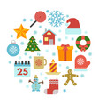 christmas icons set with snowflakes vector image