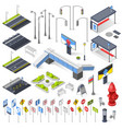 city street constructor isometric elements vector image