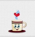 cute cartoon coffee mug character with blue eyes vector image