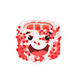 cute happy roll character sushi with funny face vector image