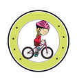 cute little girl character in bicycle vector image