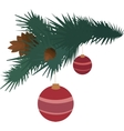 Fir branch with pine cones and balls vector image vector image