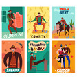 flat wild west cards vector image