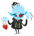 funny vampire holding bag of blood vector image vector image