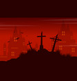 grave and castle halloween landscape vector image vector image
