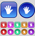 hand icon sign A set of twelve vintage buttons for vector image vector image