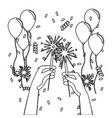 hands with firework design vector image