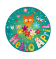 hello april card with cute kitten vector image vector image