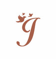 initial letter j with birds shape logo vector image vector image