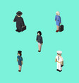 isometric human set of hostess detective girl vector image