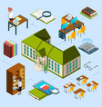 isometric library concept 3d public vector image vector image