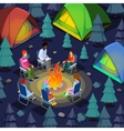 Isometric People Sitting Near Camping Bonfire vector image vector image