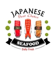 Japanese seafood restaurant and sushi bar sign vector image vector image