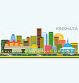 kinshasa skyline with color buildings and blue sky vector image vector image