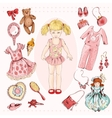 Little girl character accessories set vector image