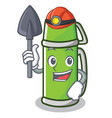 miner thermos character cartoon style vector image