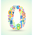 Number 0 colored font from numbers vector image vector image