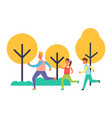 people running in park set cartoon icon vector image