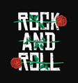 rock and roll t-shirt design red roses between vector image vector image