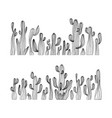 saguaro cactus hand drawn cactus set vector image