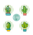 set of cactus cartoons vector image
