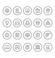 set round line icons of law vector image vector image