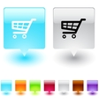 Shopping cart square button vector image vector image