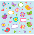 Speech bubbles with cute birds vector image vector image