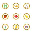 spring garden icons set cartoon style vector image vector image