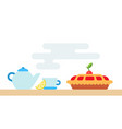 tableware for tea and cherry pie icon flat vector image vector image