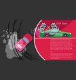 top view of a drifting car drift banner for web vector image vector image