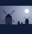 typical spanish windmills under the moon and stars vector image