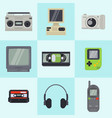 vintage 90s technology multimedia devices vector image vector image