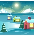 Winter night mountains and houses vector image