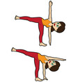 yoga asana set half moon pose vector image