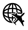 earth globe diagrama and airplane icon vector image