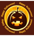 Happy halloween greeting card with moon and angry vector image