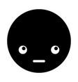 cute black kawaii emoticon face vector image