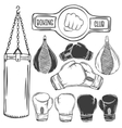 set of boxing equipment monochrome labels vector image
