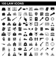 100 law icons set simple style vector image vector image