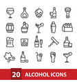 alcohol icons collection vector image