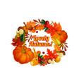 autumn harvest pumpkin corn leaf poster vector image vector image