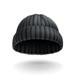 Beanie black cap icon vector image