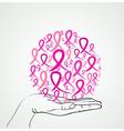 Breast cancer awareness human hand ribbon symbol vector image vector image